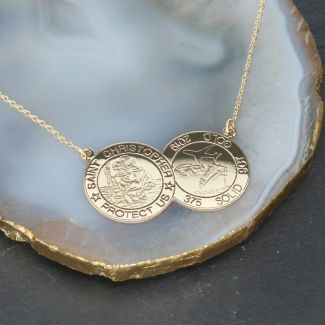 9ct Yellow Gold Double Coin St Christopher Necklace