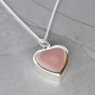 Sterling Silver Pink Mother Of Pearl Heart Urn Cremation Ashes Pendant With Optional Engraving & Chain