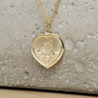 9ct Yellow Gold Heart St Christopher Pendant With Optional Engraving and Chain