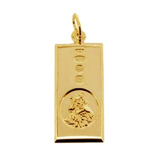 9ct Yellow Gold Custom Hallmarked Large St Christopher Ingot With Optional Engraving and Chain