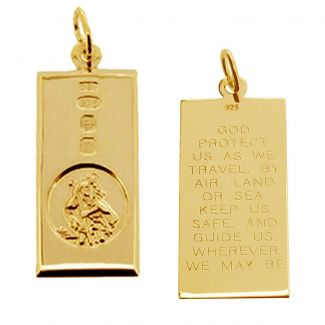 9ct Yellow Gold Custom Hallmarked Large St Christopher Ingot With Travellers Prayer and Optional Chain