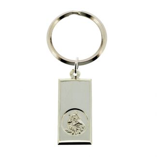 Sterling Silver Large St Christopher Ingot Keyring With Travellers Prayer and Optional Engraving
