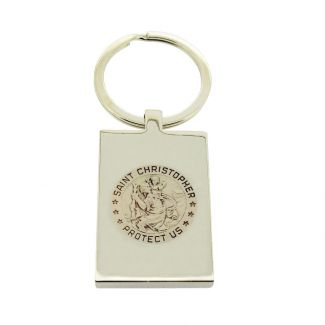 Mirror Polished Rectangle St Christopher Keyring