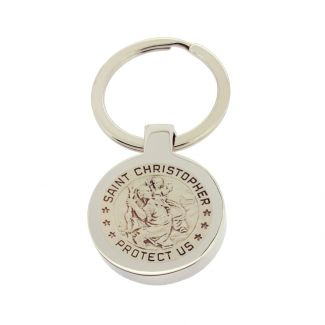 Mirror Polished Round St Christopher Keyring