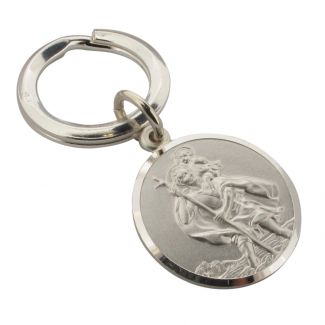 Sterling Silver 24mm Double Sided St Christopher Keyring With Optional Engraving
