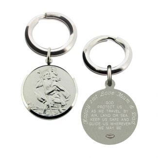 Sterling Silver 24mm St Christopher Keyring With Travellers Prayer and Optional Engraving