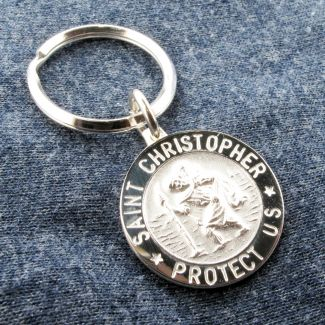 Sterling Silver 24mm 3D St Christopher Keyring With Optional Engraving
