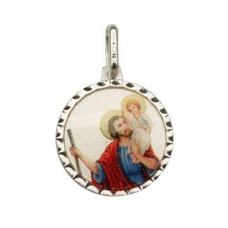 Sterling Silver & Colour St Christopher Pendant