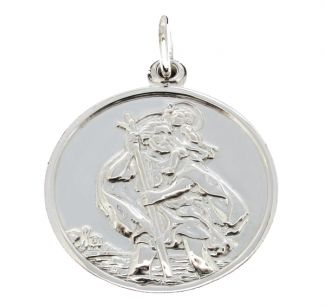Sterling Silver Round Reversible St Christopher Pendant
