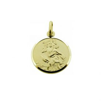 9ct Yellow Gold 14mm St Christopher Pendant With Optional Engraving and Chain