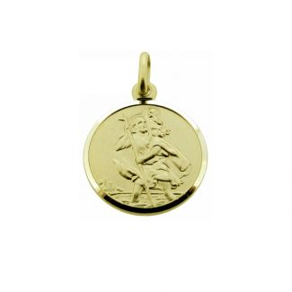 9ct Yellow Gold 16mm St Christopher Pendant With Optional Engraving and Chain