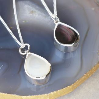 Sterling Silver Teardop Mother Of Pearl Urn Cremation Ashes Pendant With Optional Engraving & Chain