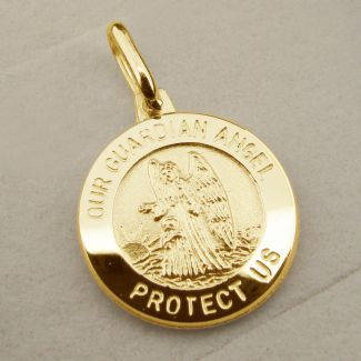 9ct Yellow Gold Plated Guardian Angel Pendant With Optional Engraving and Chain