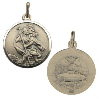Antique Finish Sterling Silver 20mm Double Sided St Christopher Pendant
