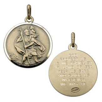 Antique Finish Sterling Silver 20mm St Christopher Pendant With Travellers Prayer
