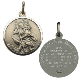 Antique Finish Sterling Silver 27mm St Christopher Pendant With Travellers Prayer Optional Engraving