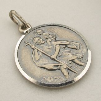Antique Finish Sterling Silver 14mm St Christopher Pendant With Optional Engraving and Chain