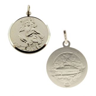 Sterling Silver 18mm Double Sided St Christopher Pendant With Optional Chain
