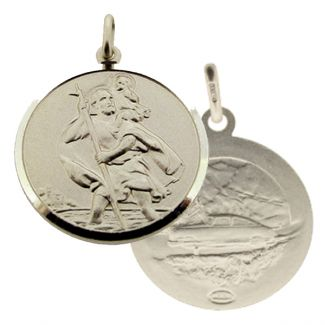 Sterling Silver 20mm Double Sided St Christopher Pendant