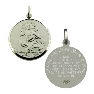 Sterling Silver 24mm St Christopher Pendant With Travellers Prayer Optional Engraving