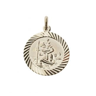 Sterling Silver 16mm Diamond Cut St Christopher Pendant With Optional Personalisation and Chain