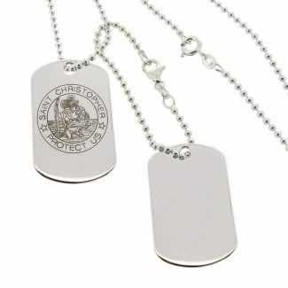 Sterling Silver St Christopher Double Dog Tags