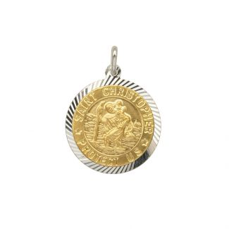 Sterling Silver and Gold Plated 15mm Diamond Cut St Christopher Pendant