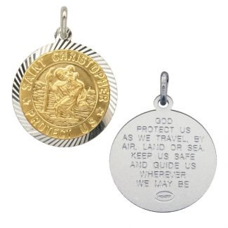 Sterling Silver and Gold Plated 21mm Diamond Cut St Christopher Pendant With Travellers Prayer