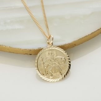 9ct Yellow Gold Plated Diamond Cut 19mm St Christopher Pendant