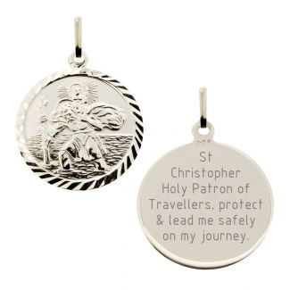 Sterling Silver Diamond Cut 19mm St Christopher Pendant With Travellers Prayer