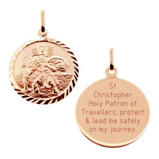 9ct Rose Gold Plated Diamond Cut 19mm St Christopher Pendant With With Travellers Prayer