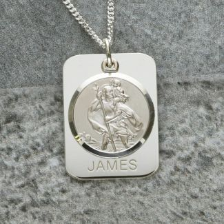 Sterling Silver 21mm 3D St Christopher Pendant With Travellers Prayer /& Chain