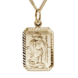 9ct Yellow Gold Diamond Cut Large Rectangle St Christopher Pendant With Optional Engraving