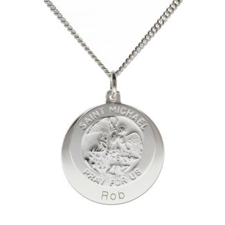 Sterling Silver Personalised St Michael With Concealed St Michaels Prayer