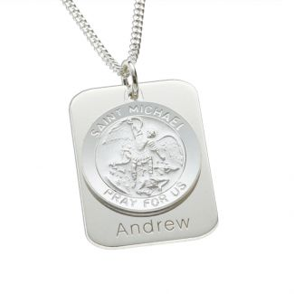 Sterling Silver Personalised St Michael With Concealed St Michaels Prayer and Optional Engraving