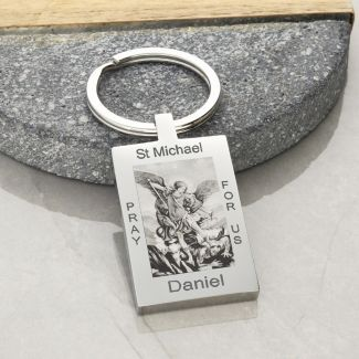 Mirror Polished Personalised Rectangle St Michael Keyring With Optional Engraving