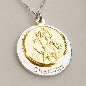 9ct Yellow Gold Plated Personalised Round St Christopher With Travellers Prayer & Optional Engraving