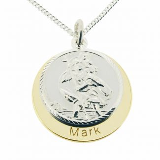 9ct Yellow Gold & 9ct White Gold Personalised St Christopher With Concealed With Travellers Prayer