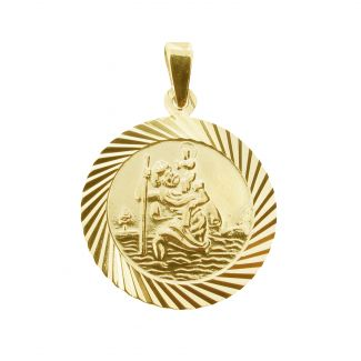 9ct Yellow Gold Plated 20mm Diamond Cut St Christopher Pendant With Optional Personalisation and Chain
