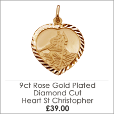 Rose Gold Plated on Sterling Silver Heart Diamond Cut St Christopher