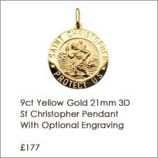 9ct Yellow Gold 21mm 3D St Christopher Pendant With Optional Engraving and Chain