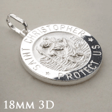 Sterling Silver 18mm 3D St Christopher